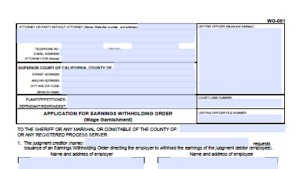 wg-001 application for earnings withholding order