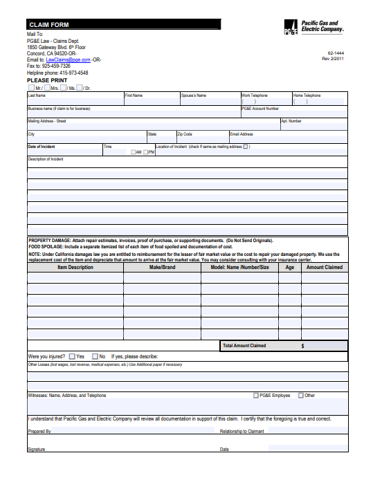 Pacific Gas & Electric Company Claim Form